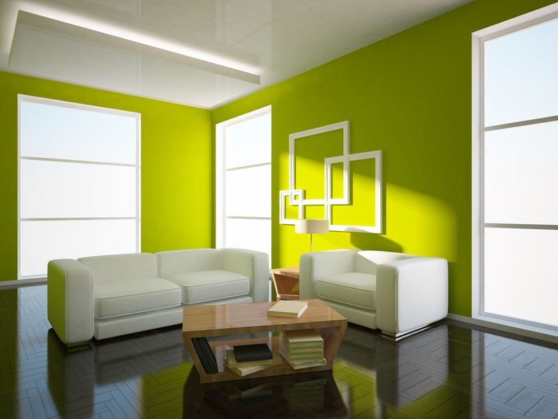 Белый с зелёным интерьер